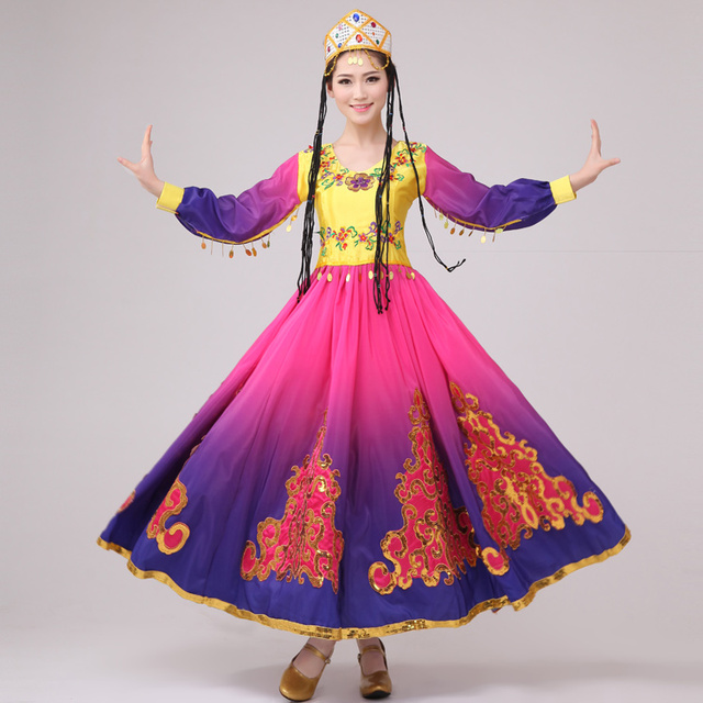 58cd2c912 2017 Sale Women Ancient Chinese Costume New Xinjiang Turpan Minority Dance  Costumes Chinese Folk Performance Wear Ethnic Uighur