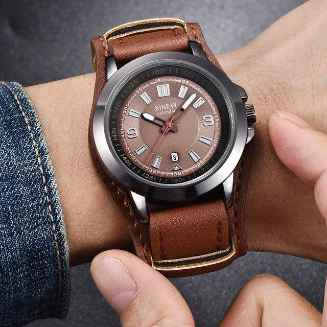 efdd14f7c18 1 pc lote Relógios Mens Moda Esportes Pulseira de Couro Data Exército  Estilo Relógio de Pulso de Quartzo Saat Relojes Lujo Erkek Vintage Marcas  homens