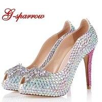Супер Высокий каблук переливающимися стразами свадебные туфли со стразами шикарные невесты обувь для вечеринок открытый носок Юбилей туфл