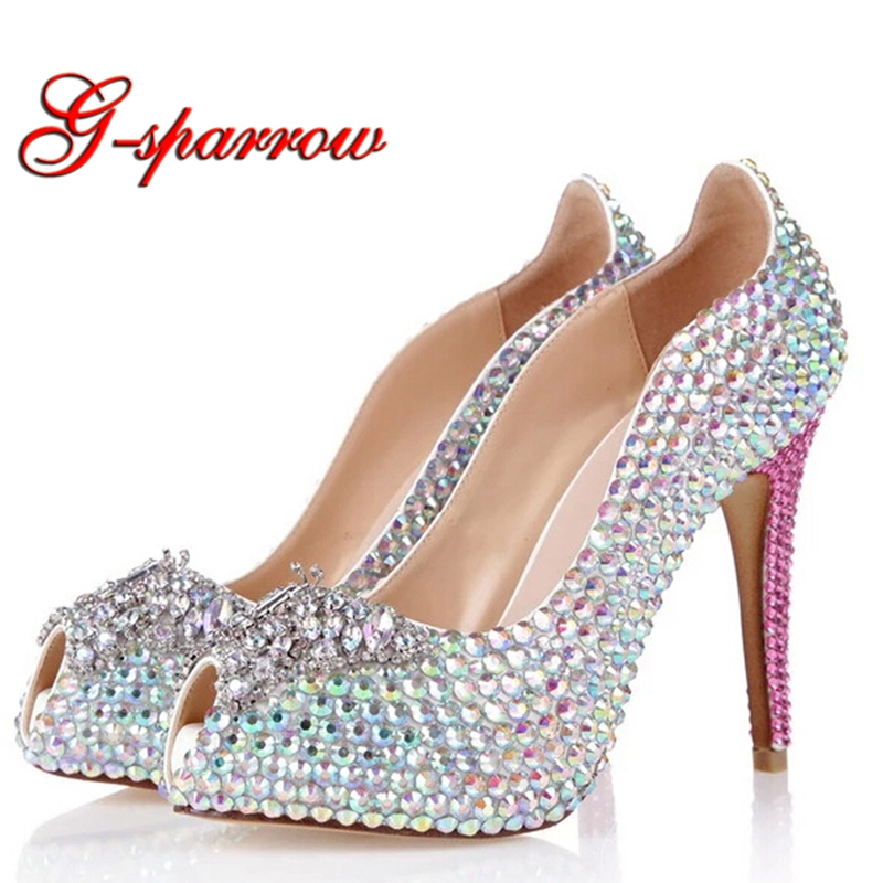 Super High Heel AB Crystal Wedding Shoes Rhinestone Bling Bling Bride Party Shoes Peep Toe Anniversary Ceremony Shoes Plus Size newest design stylish wedge sandals bling bling multicolor rhinestone decoration celebrities style concise peep toe party shoes