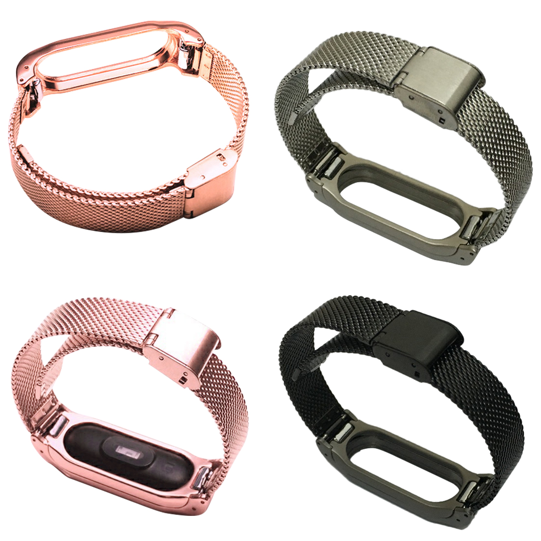Metal Strap For Xiaomi Mi Band 2 Screwless Leather Straps Bracelet Wristband Magnetic Automatic Buckle For MiBand 2 Wristbands