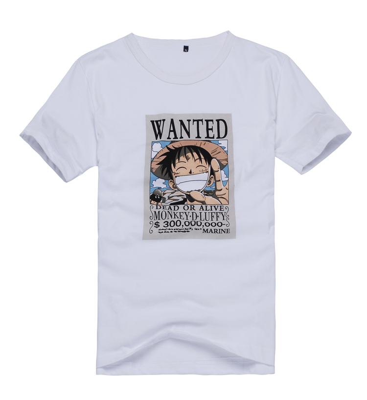 WANTED Luffy Printing Short Sleeves Top Unisex Daily T Shirt Anime Tee 100% Cotton Anime  Cosplay Tee White Top