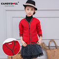 Children Clothing Girls Sweaters Long Sleeve Solid Red Sweaters Kids Cardigan Knitted Sweaters Coat 3-10 years SAJ3130