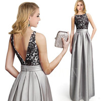 2018 silber Spitze Satin Brautjungfer Kleider Sexy Appliques Backless Sleeveless A-linie Robe De Soiree Prom Kleider Vestido