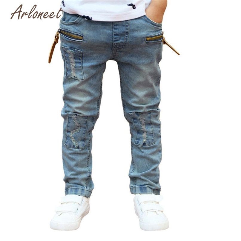 Winter Fashion Pants Light Blue Baby Boy Solid Handsome Zipper Stretch Slim Pale Denim Trousers Pants 2018 drop shipped ST22(China)