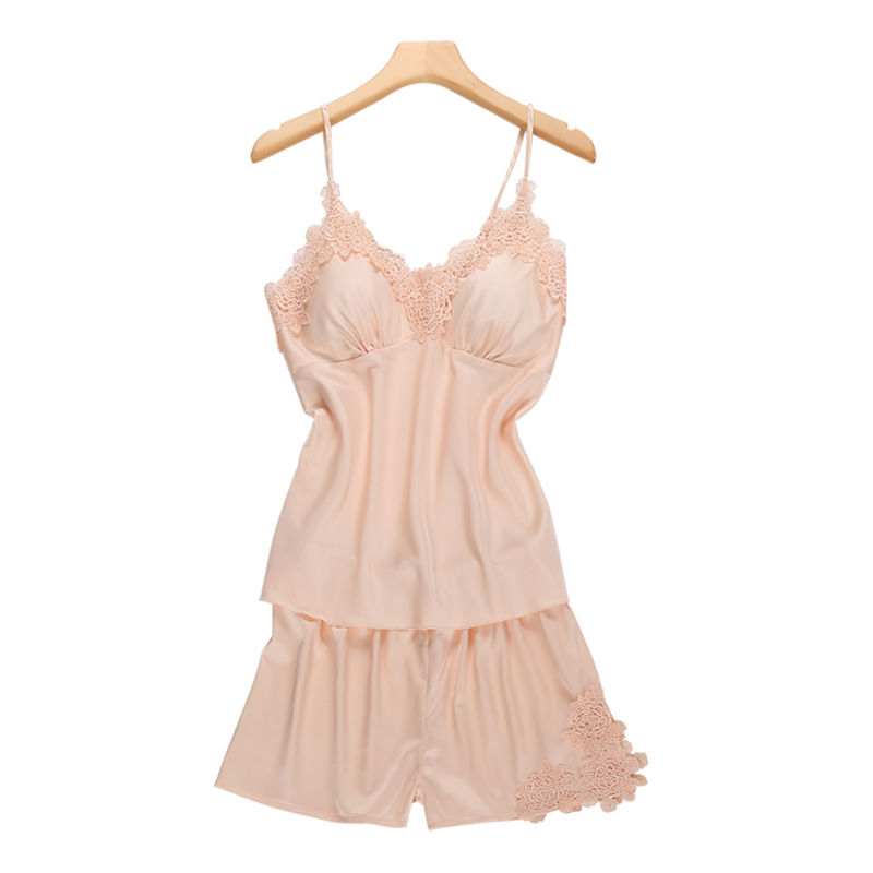 Female Silk Sexy Sleepwear Women V Neck Padded Tops+Shorts 2 Pieces Set Home Wear Thin Strape Crochet Women Sleeping Clothing