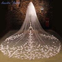 Сапфир люкс Романтический покрывалами Пользовательские сделать Одежда высшего качества фату Кот собор красивое кружевное 3D цветок Длинны