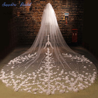 Sapphire Bridal Romantic Veils Custom Make Top Quality Bridal Veils Ivory Cathedral Beautiful Lace 3D Flower Long Wedding Veils
