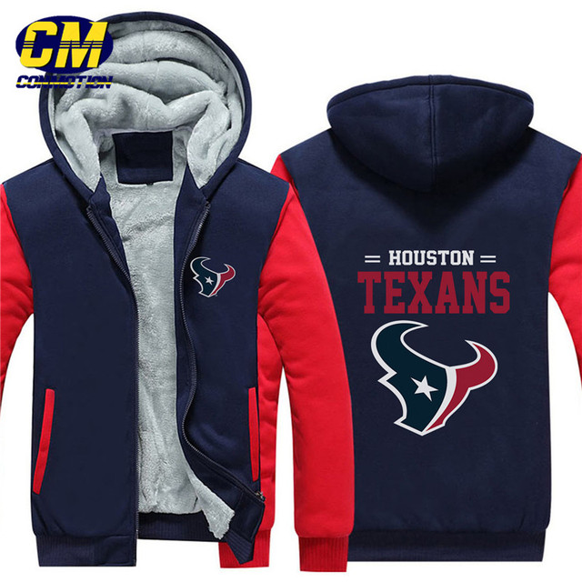 1982c52329c9f NFL fútbol americano invierno thicken más terciopelo cremallera Sudadera  con capucha chaqueta casual Houston Texans
