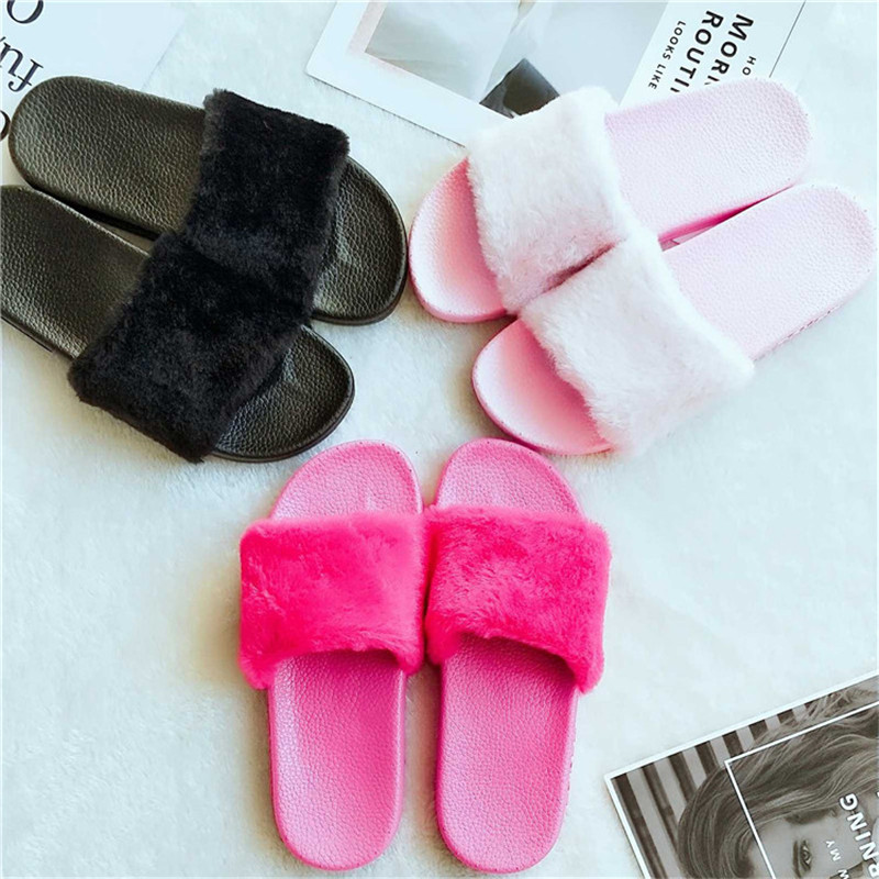 5f764914d5fb 2017 Slippers Women Fluffy Faux Fur Flat Fashion Ladies Slip on Sliders  Flip Flop Sandal Female Casual Slipper Zapatos Mujer New-in Slippers from  Shoes on ...