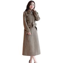 36314d9f6 2018 Mulheres Casaco de Inverno Double Breasted Casaco De Lã Mistura  Elegante Oversize Longo Trench Coat