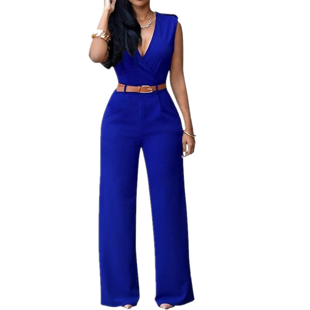 V-Neck Sleeveless Jumpsuit Rompers Bandage Bodycon