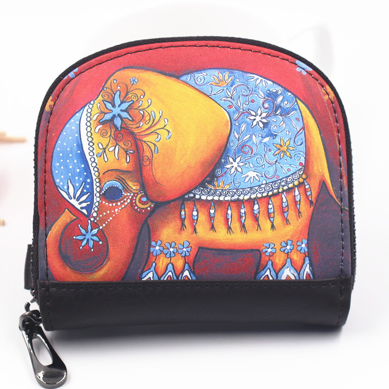 Creative print elephant coin purse women's short wallet Ladies clutch change purse Female cartoon Zipper coins bag Small wallet