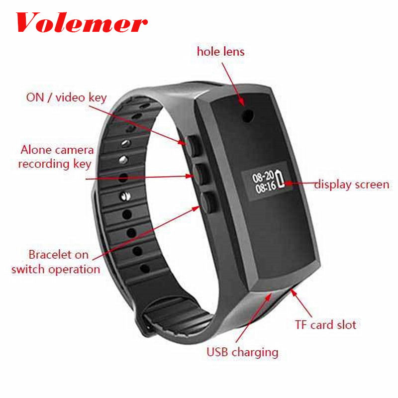 Volemer X18 Smart Band Mini Camera Watch HD 1080P Mini Camcorder Pedometer Wristband Micro Camera Voice Video Recording Cam