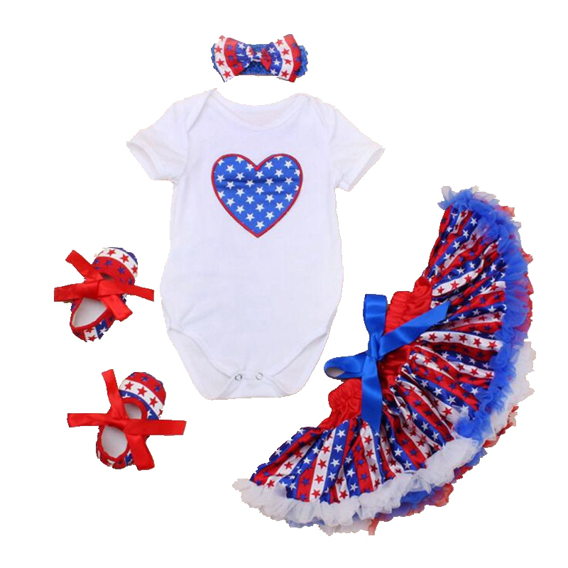 Love America Flag 4th Of July Outfits Summer 2018 Newborn Baby Girl Clothes Ropa Bebe Bodysuit Skirt 4PCS Infant Clothing Sets
