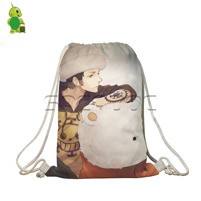 f7755f34cb6f Anime One Piece Drawstring Bag Women Men Softback Bags Luffy White Beard  Printed School Bags for Teenagers Girls Boys Travel Bag