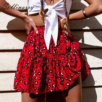 cadf3a320ec Sollinarry красные оборки леопардовые летние юбки женские новые сексуальные  Бохо мини юбки Ретро Повседневная линия с высокой талией для девоче.