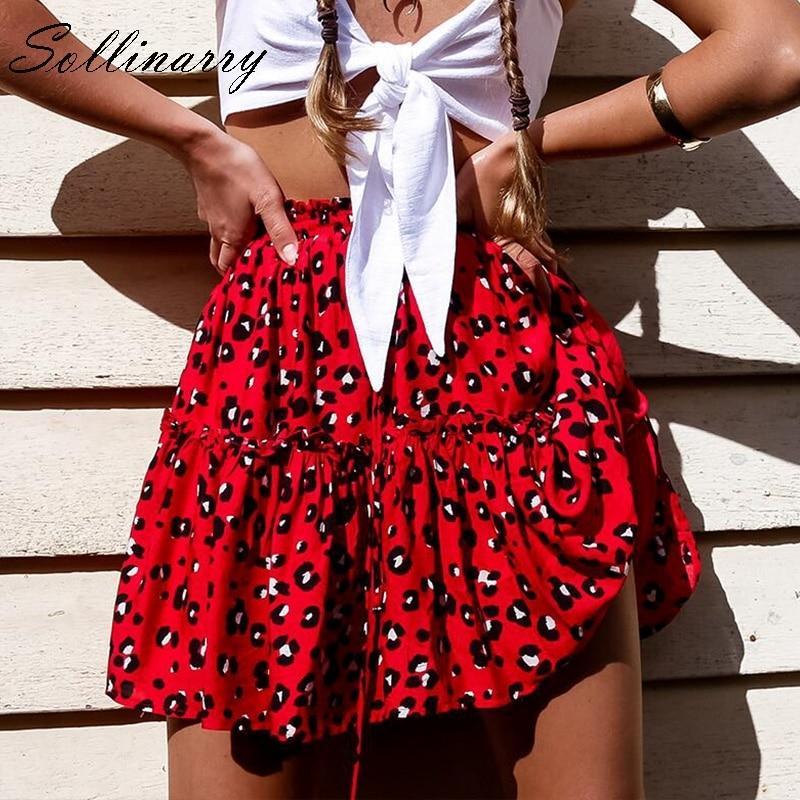 Sollinarry Red Ruffles Leopard Autumn Winter Skirts Women Sexy Boho Mini Skirt Retro Casual A Line High Waist Girls Short Skirts