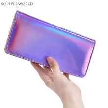 Fashion Women Leather Wallet Hologram Color Clutch Wallets And Purses Leather Long Brand Money Purse Credit Card Wallet все цены