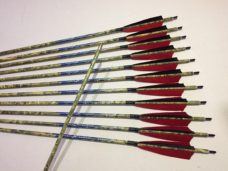 12pcs 100% pure carbon arrow spine300/340/400 ID6.2mm 5turkey feather arrow nock 100gr field point for compound bow hunting 12 archery carbon arrow spine300 340 400 500 600 fluorescent yellow shaft compound bow shoot id6 2mm protect ring nock