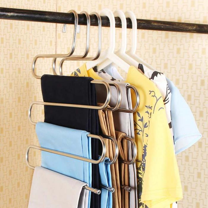 2 Pcs Pants Hangers S Type Stainless Steel Rack 5 Layers Closet Hanger  Storage Rack For Clothes Towel Scarf Tie @LS