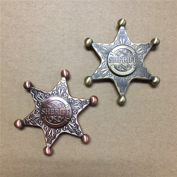 Christmas Sheriff Star Police Badge Hand Fidget Spinner UFO Rotate Toy Anxiety Relieve Reduce Pressure Stress Adults Kids