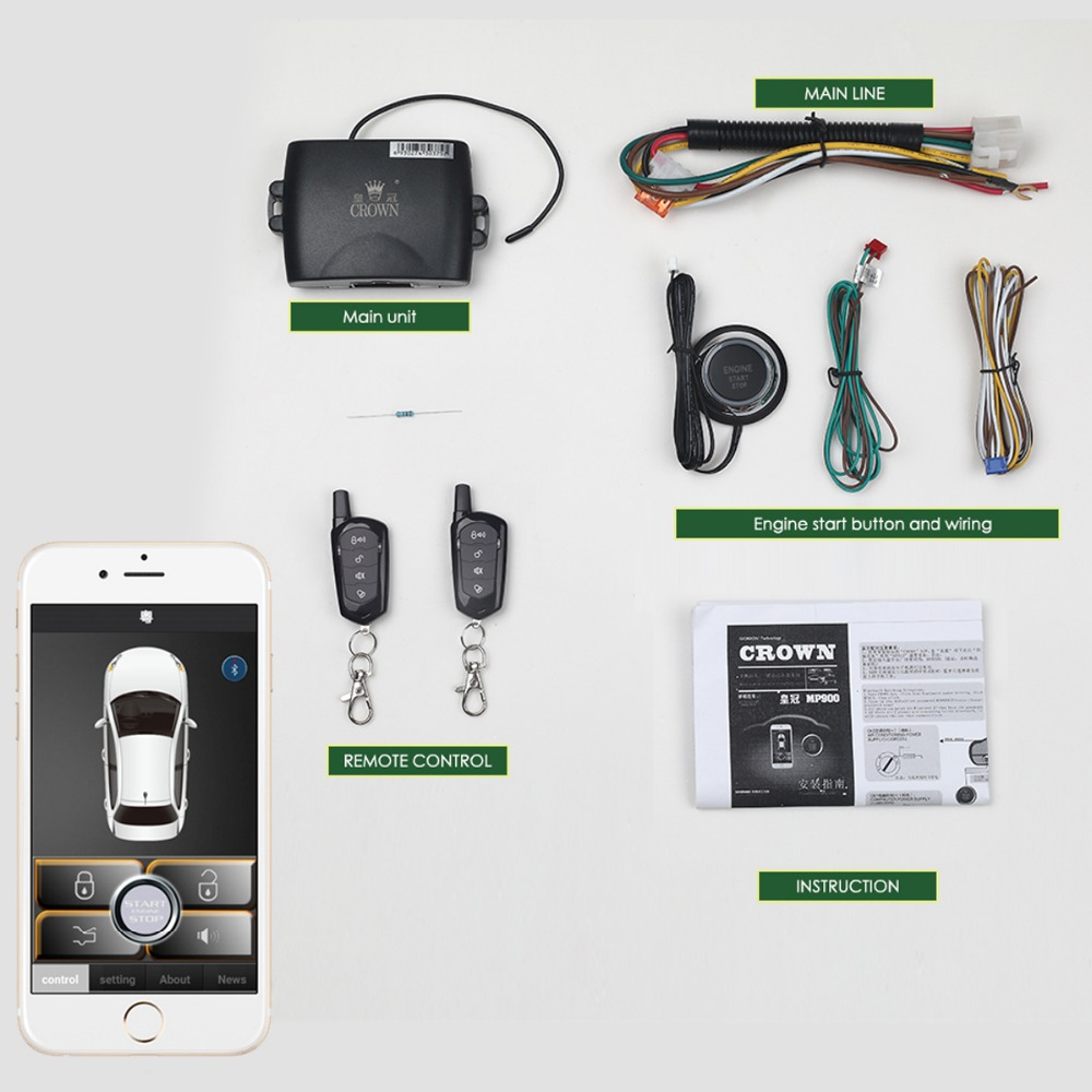 PKE  Keyless Entry Remote Start Smart Phone APP Central Locking/unlock Control Car Alarm System Start Stop With Button
