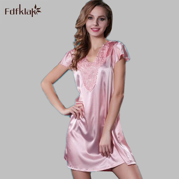 f79cb3b92d20 Nightgown Set Silk Satin Lingerie Long Lace Nightgown Large Size Nightgowns  Night Gown Women Sexy Summer Nightwear M XXL E1189-in Nightgowns    Sleepshirts ...