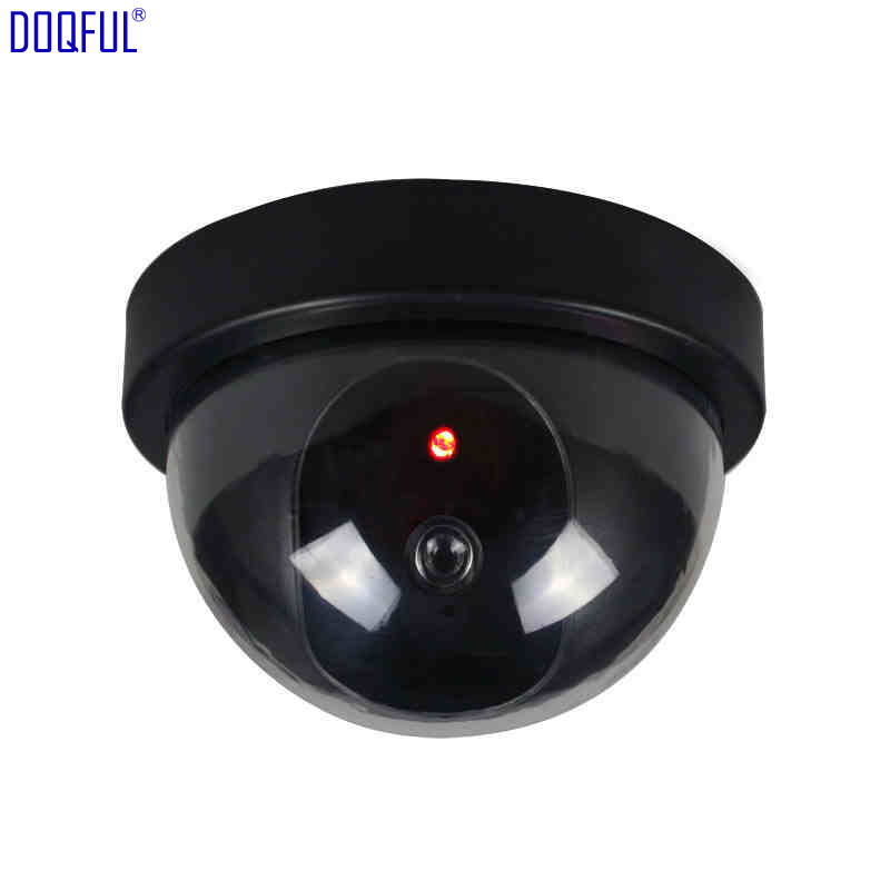 100pcs Fake Camera Dummy Dome Simulation Cameras Surveillance Indoor Outdoor Home Office CCTV Security Blinking Red LED image