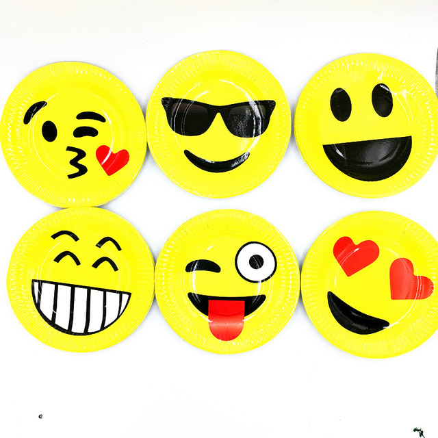 10PCS LOT SINGLE EMOJI PLATES DISHES KIDS BIRTHDAY PARTY FAVORS HAPPY SUPPLIES PAPER