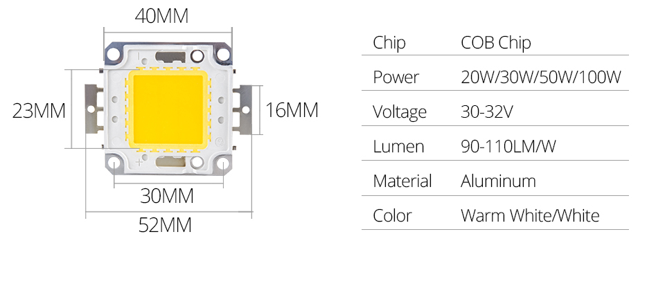 LED Chip 12V 10W 30V-36V 20W 30W 50W 100W Integrated COB LED Beads DIY Spot For Floodlight Searchlight Cold Warm White