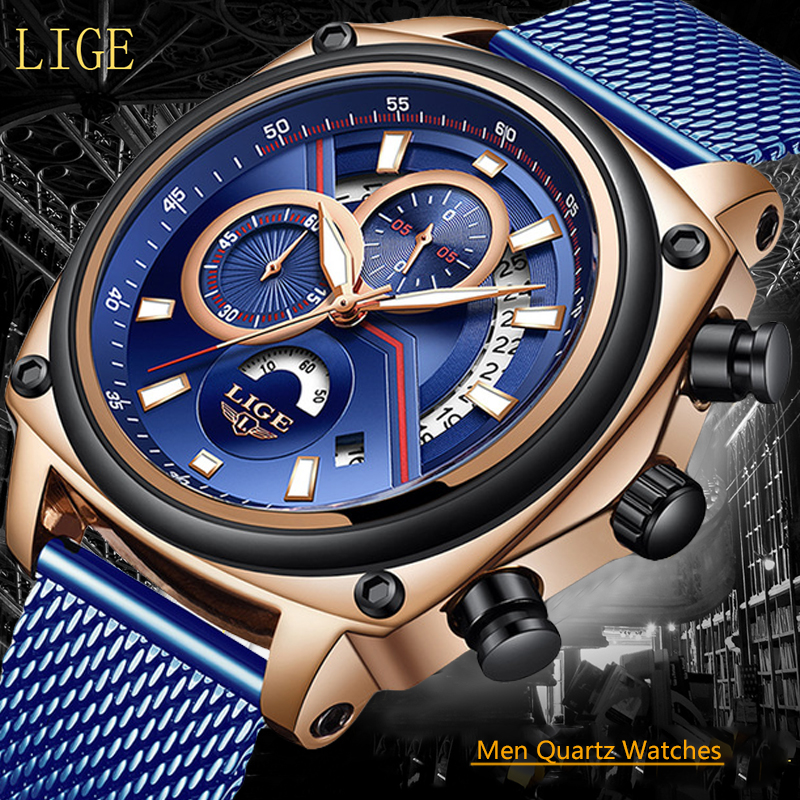 Men's Watches LIGE Top Luxury Brand Business Sport Watch Men Military Net With Fashion Waterproof Chronograph Relogio Masculino