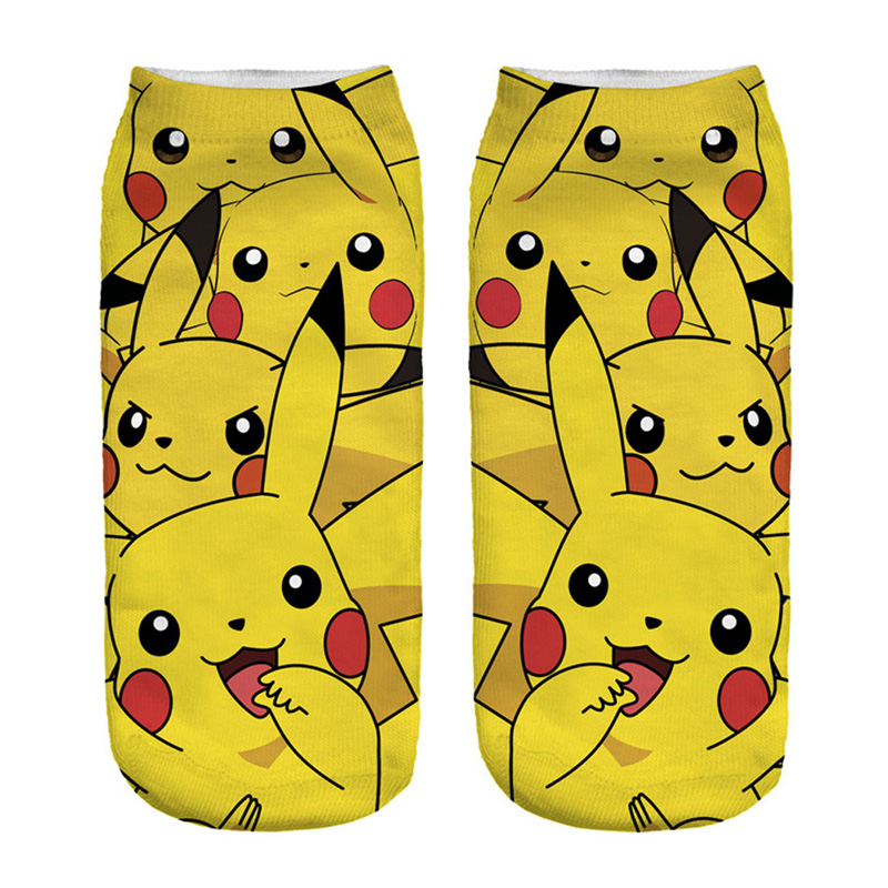 2019 New Arrival Kawaii Harajuku Pokemon Pikachu   Socks   3D Printed Cartoon Women's Low Cut Ankle   Socks   Novelty Casual   Socks   Meias
