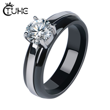 Four-Jaw Set Rhinestone Women Rings Never Fade Color Black Ceramic With CZ Crystal Wedding Gift