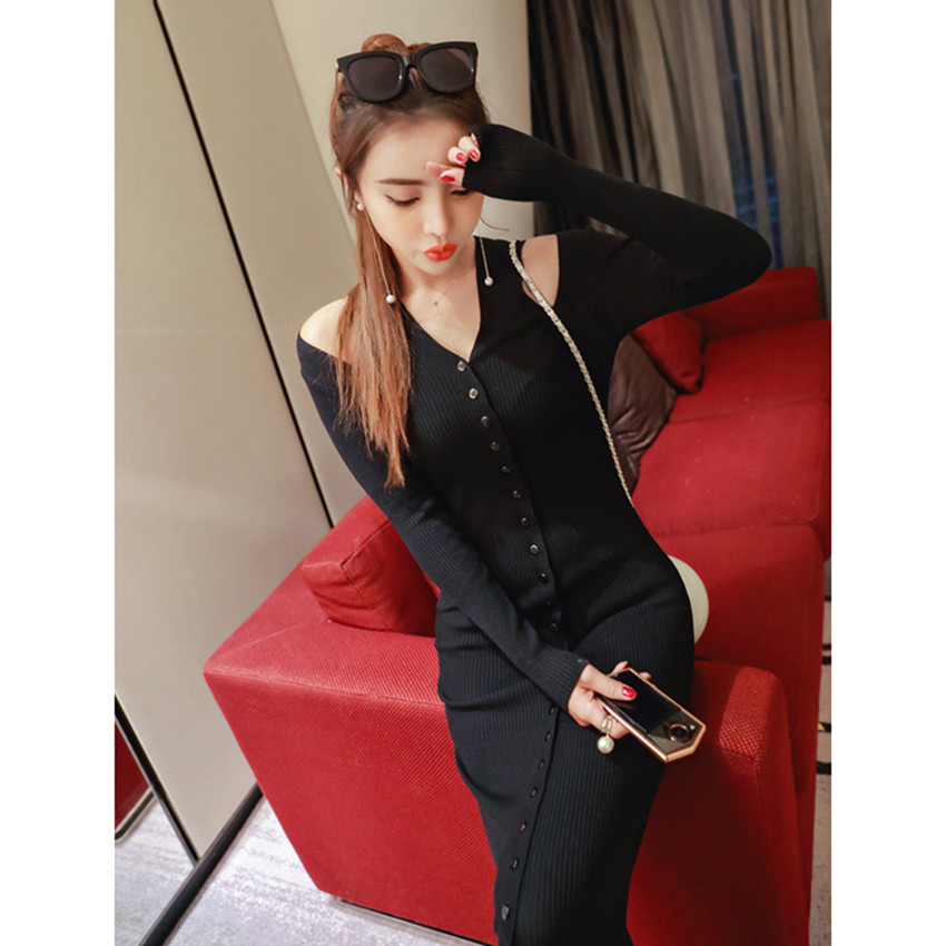 57e0c9c41d4 Womens Sweater Dress 2018 Autumn Winter Long Sleeve Fashion Elegant Knit  Dresses Sexy Slim Party Bodycon Knee Sweaters Dress-in Dresses from Women s  ...