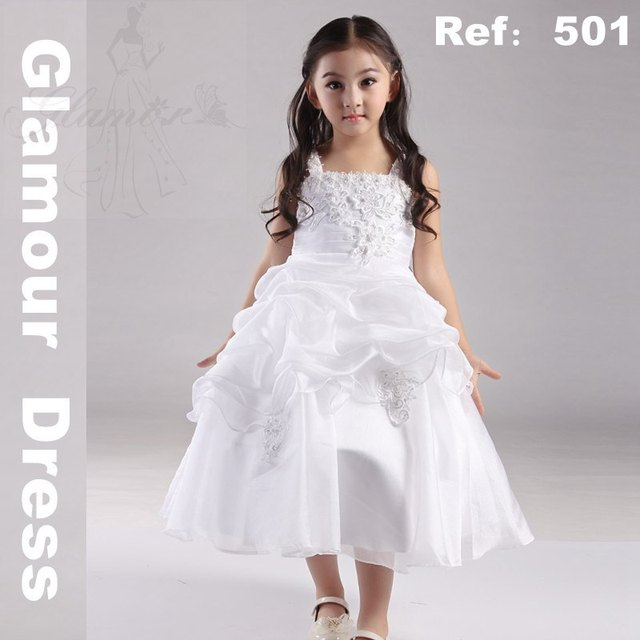 864b5ebff Free Shipping HG Princess 2T-10T Child White first communion Dress 2017 New  organza Flower girl dresses Plus size 10 12 Girls