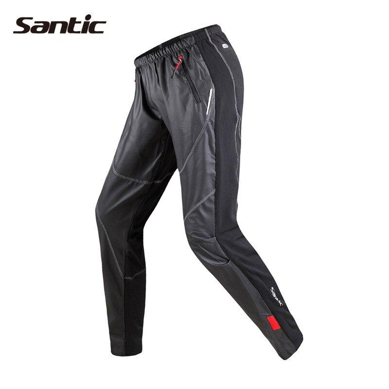 Santic Men Cycling Winter Warm Pants Mountain Bike Windproof Bicycle Trousers Fleece Thermal Pants Clothing Long Pants C04007