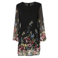 Women 2017 Summer Long Sleeve Floral Print Chiffon Dress Casual Style Beach Elegant Ladies Dresses