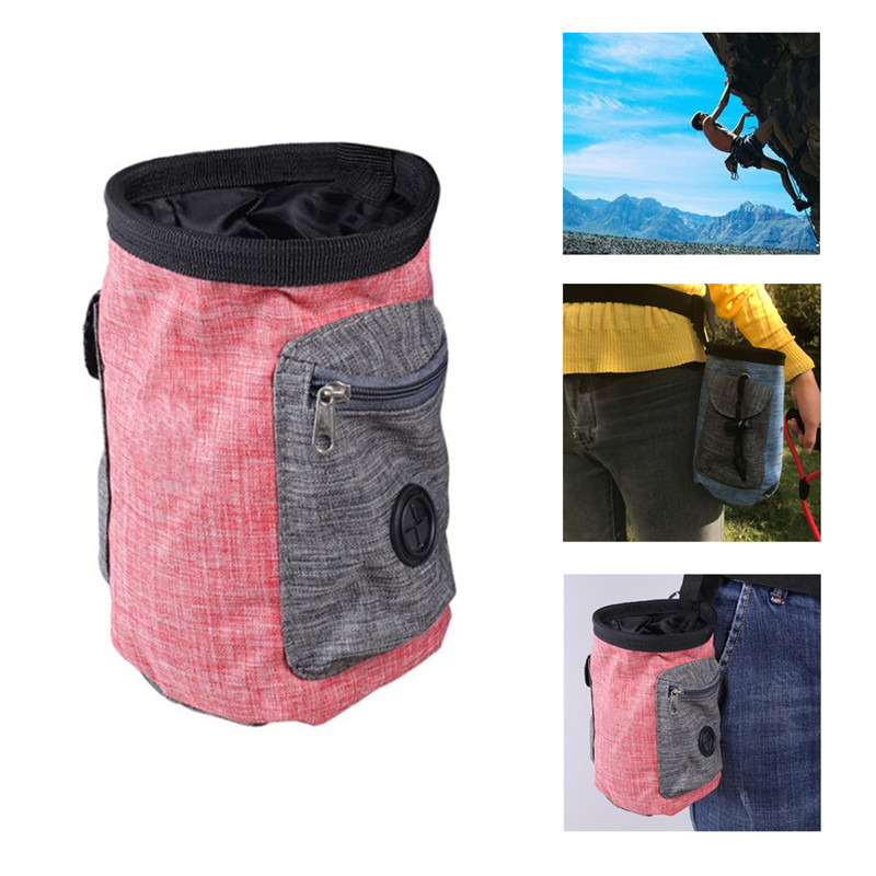 Chalk Holding Storage Bag Drawstring Waist Belt Pouch Pack Climbing Accessory