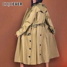CHICEVER kurtka jesienny dla kobiet luźna wiatrówka kobiety Outsize z długim rękawem wysokiej talii z szarfami płaszcz ubrania damskie moda