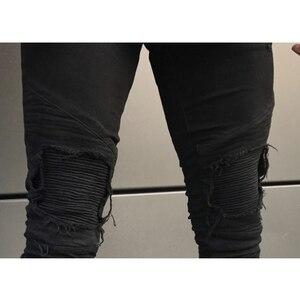 Image 5 - 2020 Nieuwe Mannen Ripped Gaten Jeans Zip Skinny Biker Jeans Zwart Wit Jeans Met Geplooide Patchwork Slim Fit Hip Hop jeans Mannen Broek