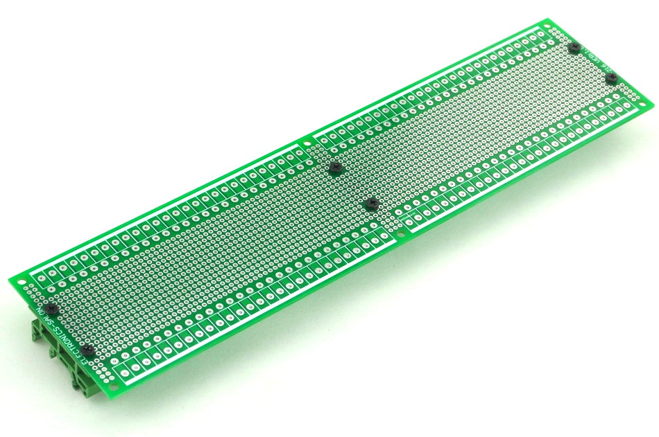 Prototype PCB With DIN Rail Adapter, 296 X 72mm, For DIN Rail Projects DIY