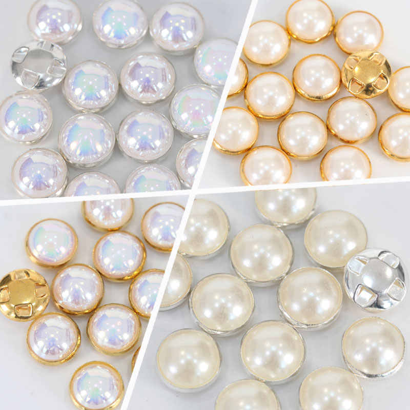 100pcs Half Round Pearls Crystal AB Sew On Rhinestones With Claw White Sew-on  Craft 31fe1e29c315