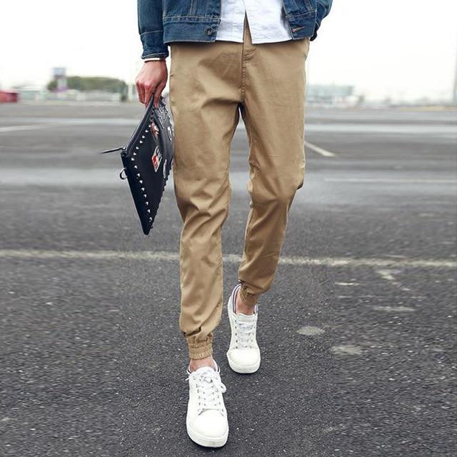 Khaki Joggers Mens Sweatpants Tapered Pants Men's Cuffed Joggers Pants 100% Cotton Trousers