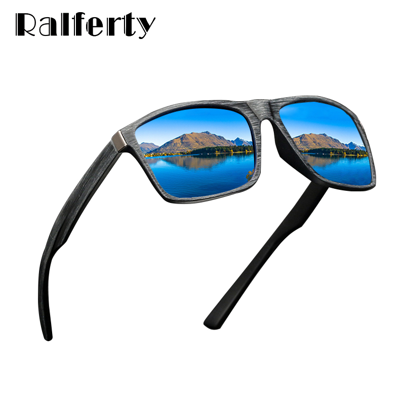 c78e0315cba69 Ralferty HD Polarized Sunglasses Men Driving Fishing Sport Goggles UV400  Retro Square Sun Glasses For Men Imitation Wood K1046