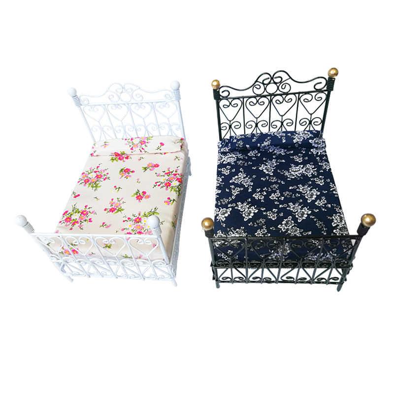 1:12 миниатюрный металлический ретро двойная кровать в европейском стиле для кукольного домика черный и белый 2 цвета