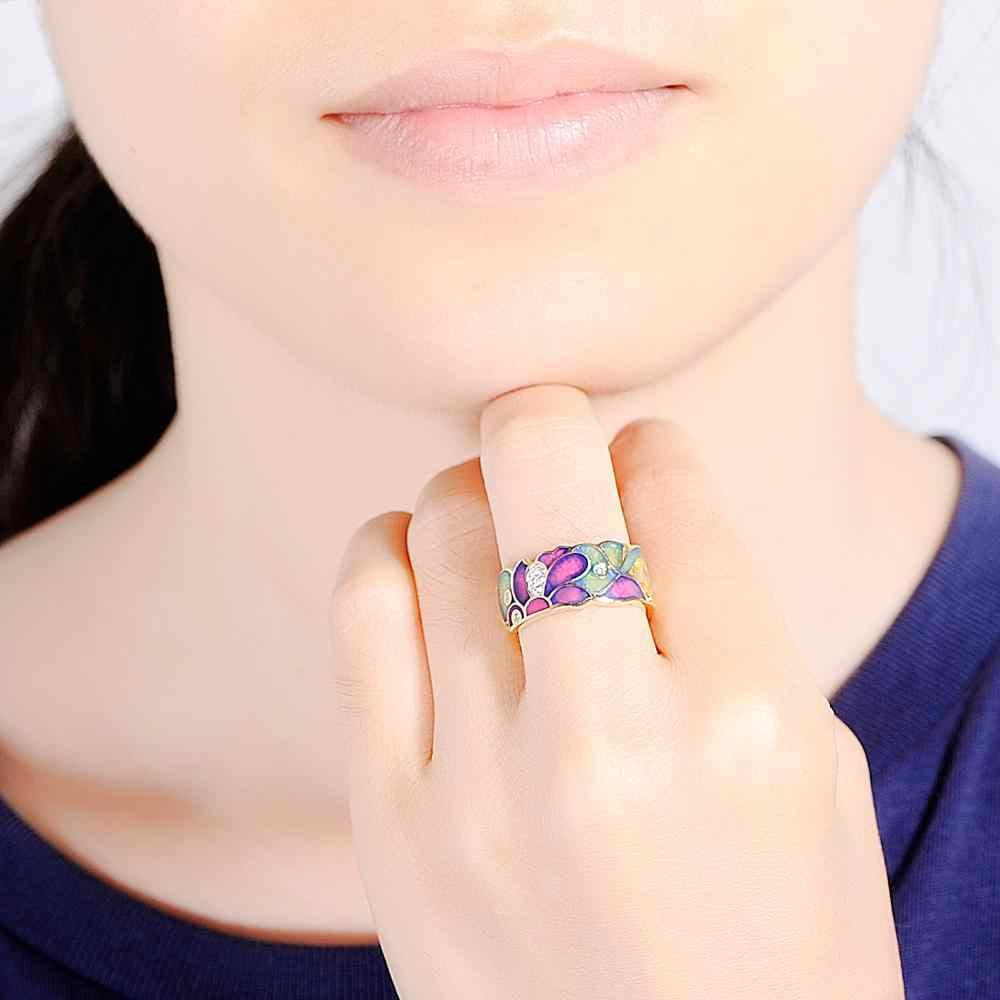 SANTUZZA แหวนเงิน 925 เงินสเตอร์ลิงสีทองดอกไม้ที่มีเสน่ห์แหวน Cubic Zirconia เครื่องประดับเคลือบทำด้วยมือ