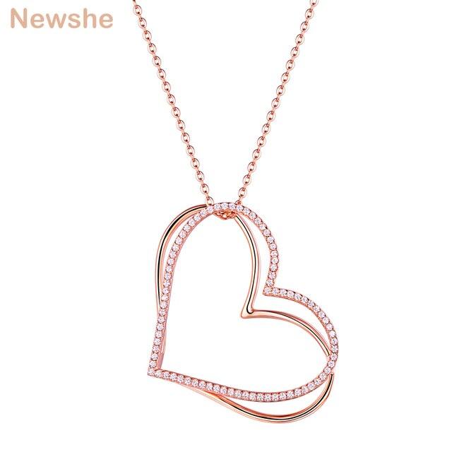 05439d46bf00 Nuevo COLLAR COLGANTE de corazón doble Color oro rosa para mujer 925 cadena  Cable plata esterlina AAA CZ regalo joyería romántica