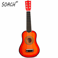 21 Inch 6 String Acoustic Guitar Kids Beginners Practice Musical Toy Wooden Improve The Art Accomplishment