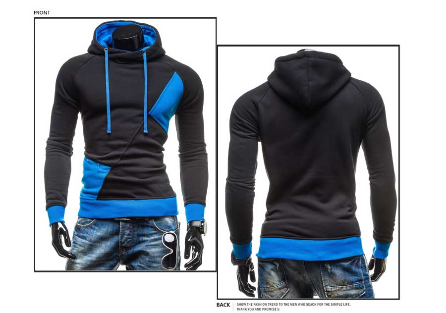spring and autumn new hoodie men's matching color patchwork jumper Korean version of men's coat 30